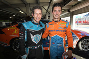 (L-R) Arie Luyendyk Jr. from the Bachelor poses for a photo with Nick Percat driver of the #8 Brad Jones Racing Commodore ZB after a hot lap during qualifying for Supercars Adelaide 500 on March 2, 2018 in Adelaide, Australia.