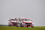 Garth Tander drives the #33 Wilson Security Racing GRM Holden Commodore ZB leads James Golding drives the #34 Wilson Security Racing GRM Holden Commodore ZB during the Supercars Phillip Island 500 at Phillip Island Grand Prix Circuit on April 20, 2018 in Phillip Island, Australia.