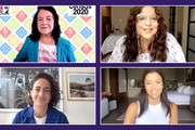 In this screengrab Dolores Huerta, Jess Morales Rocketto, Paola Ramos and Eva Longoria participate in Supercharge: Women All In, a virtual day of action hosted by Supermajority, on September 26, 2020 in United States.