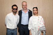 (L-R) Alex Israel, Hans Ulrich Obrist and FKA Twigs attend a Surface Magazine Event With Hans Ulrich Obrist And FKA Twigs at Edition Hotel on December 4, 2014 in Miami, Florida.