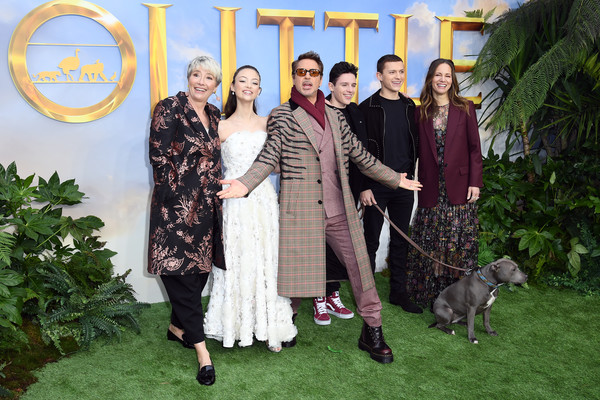 """""""Dolittle"""" Special Screening - Red Carpet Arrivals [event,sporting group,canidae,family,ceremony,red carpet arrivals,susan downey,harry collett,robert downey jr,carmel laniado,emma thompson,tom holland,dolittle special screening,l-r,screening,susan downey,robert downey jr.,carmel laniado,emma thompson,dolittle,tom holland,london,onward,sherlock holmes,premiere]"""