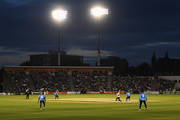 A general view as John Simpson of Middlesex hits a six during the Vitality Blast match between Sussex Sharks and Middlesex at The 1st Central County Ground on August 17, 2018 in Hove, England.