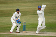 Dominic Cork of Hampshire hits out watched by Matt Prior of Sussex during the first day of the LV County Championship Division One match between Sussex and Hampshire at the PROBIZ County Ground on July 11, 2011 in Hove, England.