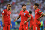 Harry Kane and Kyle Walker of England look on during the 2018 FIFA World Cup Russia Quarter Final match between Sweden and England at Samara Arena on July 7, 2018 in Samara, Russia.