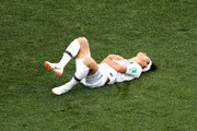 Yong Lee of Korea Republic goes down injured during the 2018 FIFA World Cup Russia group F match between Sweden and Korea Republic at Nizhniy Novgorod Stadium on June 18, 2018 in Nizhniy Novgorod, Russia.