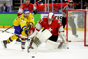 Patric Hornqvist #72 of Sweden fails to score over Leonardo Genoni, goaltender of Switzerland during the 2018 IIHF Ice Hockey World Championship Gold Medal Game game between Sweden and Switzerland at Royal Arena on May 20, 2018 in Copenhagen, Denmark.