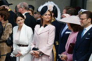 (L-R) Princess Sofia, Princess Madeleine of Sweden, Queen Silvia of Sweden and Prince Daniel of Sweden are seen at the celebrations of the Swedish Armed Forces for the 70th birthday of King Carl Gustaf of Sweden on April 30, 2016 in Stockholm, Sweden.
