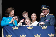 Queen Silvia of Sweden, Princess Sofia, Duchess of Varmland, Princess Estelle, Duchess of Ostergotland, Princess Sofia, Duchess of Varmland, Prince Oscar, Duke of Skane, Crown Princess Victoria of Sweden, Prince Daniel, Duke of Vastergotland and King Carl XVI Gustaf of Sweden attend a celebration of his 72nd birthday anniversary at the Royal Palace on April 30, 2018 in Stockholm, Sweden.