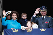 Queen Silvia of Sweden, Prince Carl Philip, Duke of Varmland, Princess Estelle, Duchess of Ostergotland, Princess Sofia, Duchess of Varmland, Prince Oscar, Duke of Skane, Crown Princess Victoria of Sweden and King Carl XVI Gustaf of Sweden attend a celebration of his 72nd birthday anniversary at the Royal Palace on April 30, 2018 in Stockholm, Sweden.