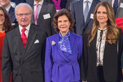 King Carl Gustaf of Sweden, Queen Silvia of Sweden and Princess Madeleine of Sweden attend the Global Child Forum at the Hall of State in the Royal Palace on November 26, 2015 in Stockholm, Sweden.