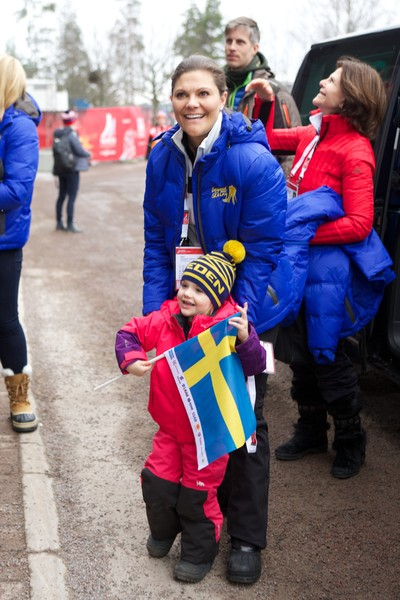 Princess Estelle of Sweden and Crown Princess Victoria of Sweden attend the FIS Nordic World Ski Championships on February 27, 2015 in Falun, Sweden.