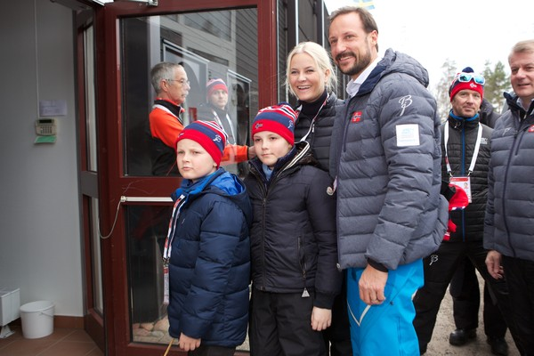 Prince Sverre Magnus of Norway, Princess Ingrid Alexandra of Norway, Crown Princess Mette-Marit of Norway and Crown Prince Haakon of Norway attend the FIS Nordic World Ski Championships on March 1, 2015 in Falun, Sweden.
