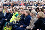 Ulla Lofven, Prime Minister of Sweden Stefan Lofven, Mikael Ekfeldt, Victoria, Crown Princess of Sweden and Prince Daniel, Duke of Vastergotland attend a tribute to victims of Stockholm terrorist attack on the first anniversary on April 7, 2018 in Stockholm, Sweden.
