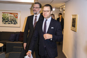 Crown Princess Victoria of Sweden (not pictured) and Prince Daniel of Sweden visit the Crime Prevention Council on November 14, 2019 in Stockholm, Sweden.