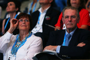 Jacques Rogge (R), President of the IOC, and his wife Anne Rogge watch the Swimming evening session on day thirteen of the 15th FINA World Championships at Palau Sant Jordi on August 1, 2013 in Barcelona, Spain.