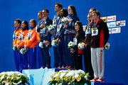 Gold medallists Ryan Lochte, Nathan Adrian, Simone Manuel and Missy Franklin of the United States pose with silver medallists Ranomi Kromowidjojo, Femke Heemskerk, Joost Reijns and Sebastiaan Verschuren of the Netherlands and bronze medallists Yuri Kisil, Chantal Van Landeghem, Sandrine Mainville and Santo Condorelli of Canada during the medal ceremony in the Mixed 4x100m Freestyle Relay Final on day fifteen of the 16th FINA World Championships at the Kazan Arena on August 8, 2015 in Kazan, Russia.