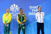 (L-R) Silver medalist Kyle Chalmers of Australia, silver medalist Chad le Clos of South Africa and gold medalist Duncan Scott of Scotland pose during the medal ceremony for the Men's 100m Freestyle Final on day four of the Gold Coast 2018 Commonwealth Games at Optus Aquatic Centre on April 8, 2018 on the Gold Coast, Australia.