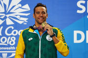 Gold medalist Chad le Clos of South Africa poses during the medal ceremony for the Men's 100m Butterfly Final on day five of the Gold Coast 2018 Commonwealth Games at Optus Aquatic Centre on April 9, 2018 on the Gold Coast, Australia.