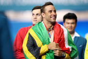 Gold medalist Chad le Clos of South Africa smiles following the medal ceremony for the Men's 100m Butterfly Final on day five of the Gold Coast 2018 Commonwealth Games at Optus Aquatic Centre on April 9, 2018 on the Gold Coast, Australia.