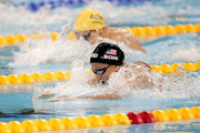 Gold medalist Rebecca Soni (bottom) of the United States leads from silver medalist Leisel Jones of Australia in the Women's 100m Breaststroke Final during Day Eleven of the 14th FINA World Championships at the Oriental Sports Center on July 26, 2011 in Shanghai, China.
