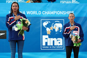 Rebecca Soni of the United States (L) with the gold medal and Kasey Carlson of the United States with the bronze medal during the medal ceremony for the Women's 100m Breaststroke Final during the 13th FINA World Championships at the Stadio del Nuoto on July 28, 2009 in Rome, Italy.