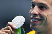 Silver medalist Pieter Timmers of Belgium poses during the medal ceremony for the Men's 100m Freestyle Final on Day 5 of the Rio 2016 Olympic Games at the Olympic Aquatics Stadium on August 10, 2016 in Rio de Janeiro, Brazil.