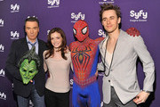(L-R) Actors Patrick Page, Jennifer Damiano, Spiderman, and Reeve Carney attend the Syfy 2011 Upfront at the Foxwoods Theater on March 22, 2011 in New York City.