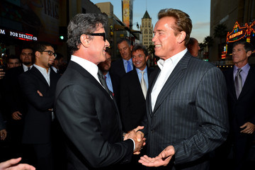 """Sylvester Stallone Arnold Schwarzenegger Premiere Of Lionsgate Films' """"The Expendables 2"""" - Red Carpet"""
