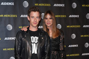 Actors Harry Treadaway (L) and Kelly Lynch attend AT&T Audience Network FYC presentation event For 'Mr. Mercedes' at Hollywood Forever on April 15, 2018 in Hollywood, California.