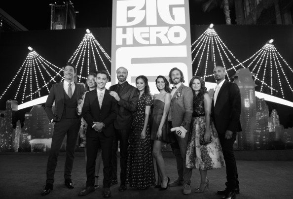 'Big Hero 6' Premieres in Hollywood [big hero 6,black-and-white,monochrome,lighting,monochrome photography,event,night,photography,architecture,style,red carpet,actors,scott adsit,genesis rodriguez,l-r,los angeles,t.j.,walt disney animation studios,premiere]