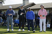 (L-R) Music artist Clay Walker, actor Ray Romano, actor Alfonso Ribeiro and actor Bill Murray laugh prior to the 3M Celebrity Challenge prior to the AT&T Pebble Beach Pro-Am at Pebble Beach Golf Links on February 05, 2020 in Pebble Beach, California.