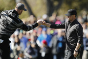 Actor Josh Duhamel celebrates with Kyle Rudolph of the Minnesota Vikings on the first green during the 3M Celebrity Challenge prior to the AT&T Pebble Beach Pro-Am at Pebble Beach Golf Links on February 05, 2020 in Pebble Beach, California.
