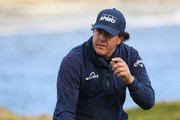 Phil Mickelson of the United States reacts on the 17th green during the third round of the AT&T Pebble Beach Pro-Am at Pebble Beach Golf Links on February 09, 2019 in Pebble Beach, California.