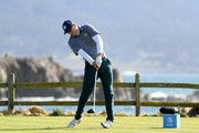 Jordan Spieth of the United States plays his shot from the 18th tee during the third round of the AT&T Pebble Beach Pro-Am at Pebble Beach Golf Links on February 09, 2019 in Pebble Beach, California.