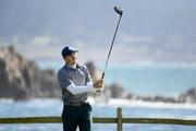 Jordan Spieth of the United States plays from the 18th tee after his first tee shot landed in the ocean during the third round of the AT&T Pebble Beach Pro-Am at Pebble Beach Golf Links on February 09, 2019 in Pebble Beach, California.