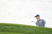 Jordan Spieth of the United States plays a shot from a bunker on the eighth hole during the third round of the AT&T Pebble Beach Pro-Am at Pebble Beach Golf Links on February 09, 2019 in Pebble Beach, California.
