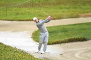 Brandt Snedeker of the United States plays a shot from a bunker on the 12th hole during the second round of the AT&T Pebble Beach Pro-Am at Monterey Peninsula Country Club Shore Course on February 08, 2019 in Pebble Beach, California.