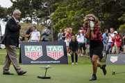Torah Bright after teeing-off straight into a cameraman at the Tag Heuer Hole In One Challenge at the Royal Sydney Golf Club on November 19, 2016 in Sydney, Australia.