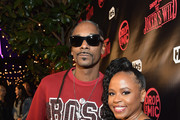 Host Snoop Dogg (L) and Shante Broadus at TBS' Drop the Mic and The Joker's Wild Premiere Party at Dream Hotel on October 11, 2017 in Hollywood, California. Shoot ID 26854_010