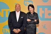 (L-R) TBS, TNT, and truTV SVP of Unscripted Programming Michael Bloom and Ann Curry pose in the green room during the TBS + TNT Summer TCA 2019 at The Beverly Hilton Hotel on July 24, 2019 in Beverly Hills, California. 596650