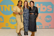 (L-R) Kim Bondy, EVP of Original Non-Fiction and Kids Programming at WarnerMedia Jennifer O'Connell and Ann Curry pose in the green room during the TBS + TNT Summer TCA 2019 at The Beverly Hilton Hotel on July 24, 2019 in Beverly Hills, California. 596650