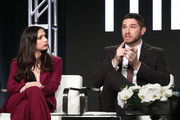 Actors Shoshannah Stern (L) and Josh Feldman of the Sundance Now television show This Close sign onstage during the AMC portion of the 2018 Winter Television Critics Association Press Tour on January 13, 2018 in Pasadena, California.