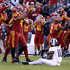 Marcel Spears Jr. Photos - linebacker Marcel Spears Jr. #42 of the Iowa State Cyclones celebrates after intercepting a pass meant for wide receiver Desmon White #10 of the TCU Horned Frogs in the second half of play at Jack Trice Stadium on October 28, 2017 in Ames, Iowa. The Iowa State Cyclones won 14-7 over the TCU Horned Frogs. - TCU v Iowa State