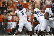 Shawn Robinson #3 of the TCU Horned Frogs throws a pass in the first half against the Texas Longhorns at Darrell K Royal-Texas Memorial Stadium on September 22, 2018 in Austin, Texas.
