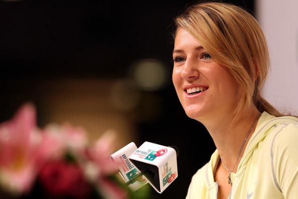 Victoria Azarenka of Belarus talks to the media during previews for the TEB BNP Paribas WTA Championships - Istanbul 2012 on October 22, 2012 in Istanbul, Turkey.