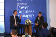 (L-R) Scott Stuber and Stephen Galloway speaks onstage at the THR Power Business Managers Breakfast on October 10, 2019 in Los Angeles, California.