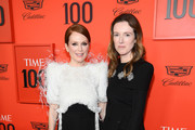 Julianne Moore (L) and Clare Waight Keller attend the TIME 100 Gala 2019 Lobby Arrivals at Jazz at Lincoln Center on April 23, 2019 in New York City.