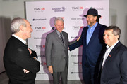 (L-R) Dr. David Agus, Former U.S. President Bill Clinton, Marc Benioff and Edward Felsenthal greet backstage during the TIME 100 Health Summit at Pier 17 on October 17, 2019 in New York City.