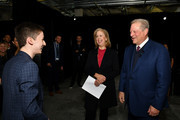 (L-R) Actor Andrew Barth Feldman.greets former Managing Editor for TIME magazine, Nancy Gibbs, and Former Vice-President, Al Gore, during the TIME 100 Health Summit at Pier 17 on October 17, 2019 in New York City.
