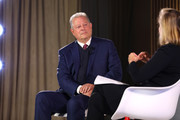 Former Vice-President Al Gore (L) is interviewed by Nancy Gibbs onstage during the TIME 100 Health Summit at Pier 17 on October 17, 2019 in New York City.